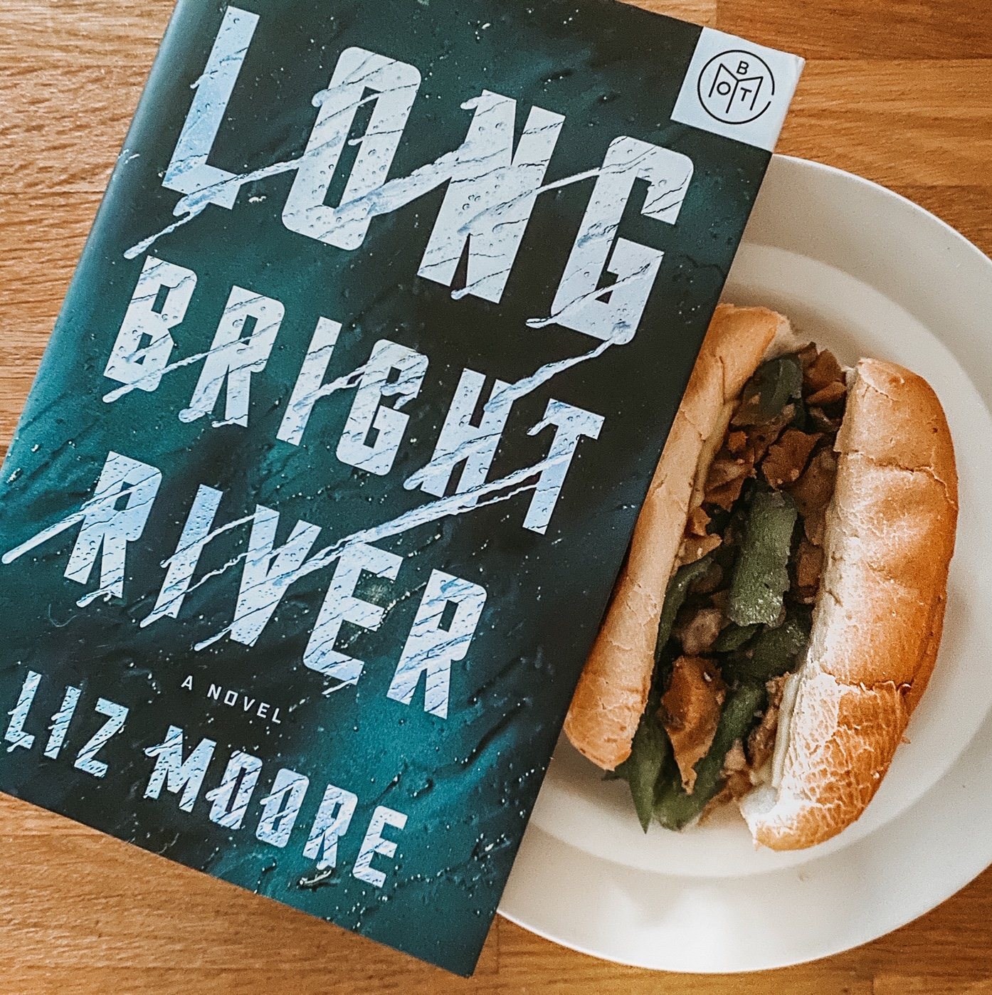 Vegan Philadelphia Cheesesteak with Long Bright River book