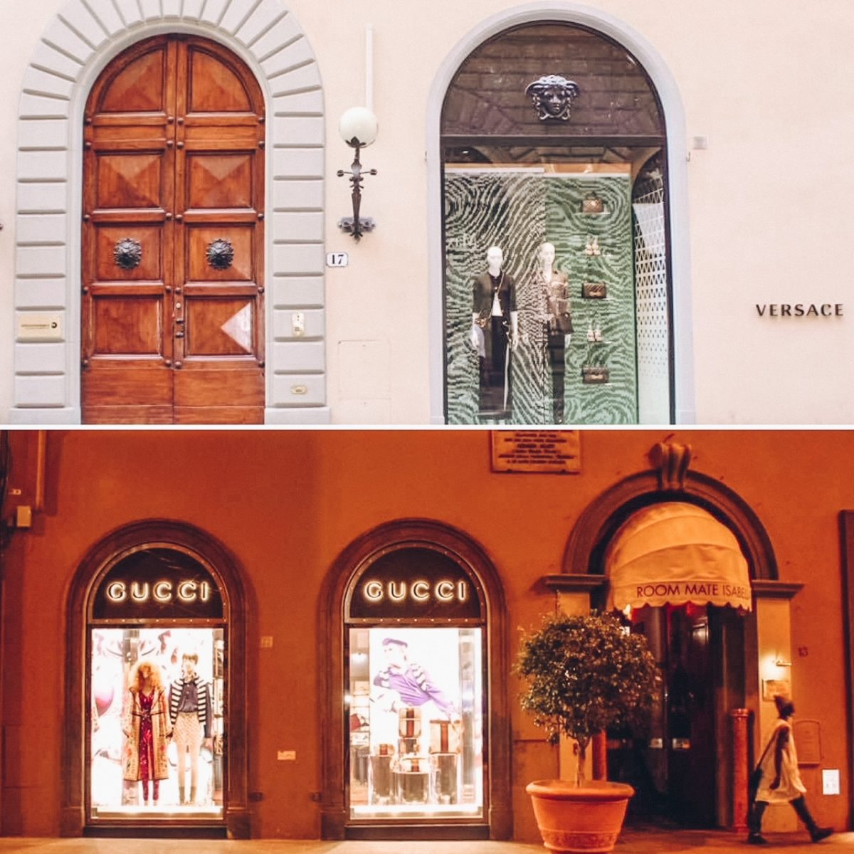 Gucci and Versace in Florence, Italy